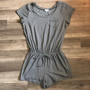Guess Navy & White Knit Shorts Romper
